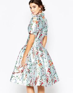Chi Chi London Womens Midi Dress On Sateen With Collar And Sleeves Multi Floral - Dresses