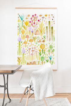 Gabriela Larios Jardin de Cactus y Hongos Art Print And Hanger | DENY Designs Home Accessories