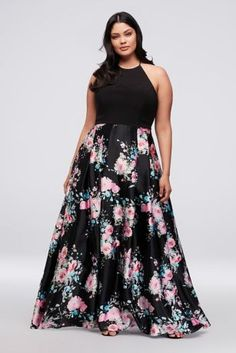 Sophisticated yet sweet, this satin and jersey prom dress features a simple tie-back halter bodice and a floral-patterned skirt. By Blondie Nites Polyester, spandex Back zipper; Plus Size Long Dresses, Plus Size Wedding Guest Dresses, Dresses For Teens, Gowns For Plus Size Women, Plus Size Gowns Formal, Plus Size Evening Gown, Pretty Dresses, Beautiful Dresses, Plus Zise