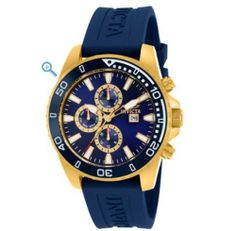 "Invicta 10923 Specialty Sport Chronograph Blue and Gold Men's Watch Invicta. $109.99. Gold Plating. Blue Polyurethane 9"" Strap. 45mm Case. Flame Fusion Crystal"