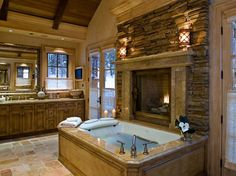 Montana log cabin - soaker tub with fireplace