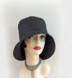 Rain Hat, Women's Shower Proof Cloche, Rain Wear, Stylish Rain Hat, Black Waxed Cotton, Eleanor, Wide Rear Brim, Rainy Day Hat, Handmade in the USA