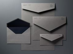 A selection of design projects curated by designer Cesar Gomez. Business Envelopes, Letterpress Business Cards, Kraft Envelopes, Logo Design Inspiration, Layout Inspiration, Name Card Design, Bussiness Card, Letterhead Design, Stationary Design