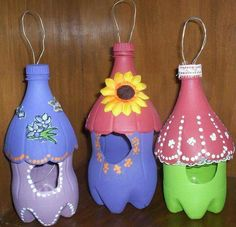 Reuse 2 liters and turn them into cute little bird houses, and hang them around the outside of the house.