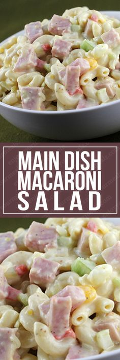 Main Dish Macaroni Salad - Enjoy Your meals - Delicious Meets Healthy: Quick and Healthy Wholesome Recipes Side Dish Recipes, Pasta Recipes, Salad Recipes, Cooking Recipes, Greek Tortellini Salad, Pasta Salad, Chow Mein, Feta, Savory Salads