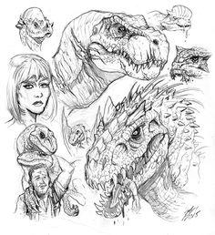 Matt Frank sketches Indominus Rex, and friends | Jurassic World Fan Artwork