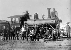 Railway workers and locomotive number 170 at Barcaldine, Queensland, 1902 (by State Library Queensland)