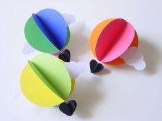 Hot Air Balloon decorazione-Bright-Set di 3-Baby Mobile-Nursery Decor-Bright colori-carta Decoration-Kids-Clouds-3D-Circle-Heart