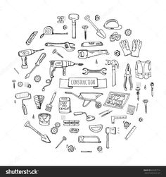 Hand Drawn Doodle Construction Tools Set Vector Illustration Building Icons House Repair Concept Collection Modern Sketch Style Labels Of Home Remodel Gear