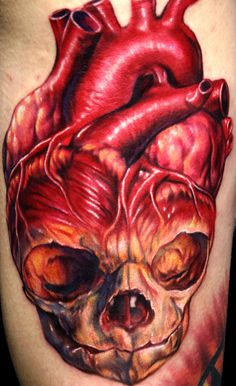 realistic heart and skull tattoos | Deep Six Laboratory : Tattoos : Page 1 : Fetus Skull Human Heart ...
