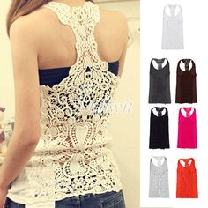 Fashion Women's Sexy Hollow-Out Back Lace Crochet Shirt Blouse Cami Tank Tops #Unbranded #TankCami #Casual