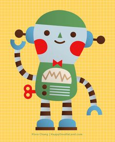 Little Robot Print | Flora Chang, Happy Doodle Land