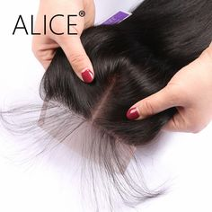 ALICE Peruvian Closure 4*4 Swiss Lace Straight Natural Color 8-24 Inches Remy Human Hair Middle Part Lace Closure