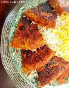 Turmeric & Saffron: The Art of Making Persian Tah-Dig (rice) Iranian Dishes, Iranian Cuisine, Arabic Food, Arabic Dessert, Arabic Sweets, Iran Food, Eastern Cuisine, Comida Latina, Side Dishes