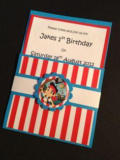 Handmade Jake and the Neverland Pirates Party Invitations & Envelopes  - Birthday  - Set of 10 - Personalised. £5.99, via Etsy.