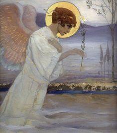 "Archangel Gabriel detail from The Annunciation by Mikhail Nesterov, 1898.  -- Архангел Гавриил.  М.В. Нестеров. 1898 г. Дерево, масло. Из диптиха ""Благовещение"""