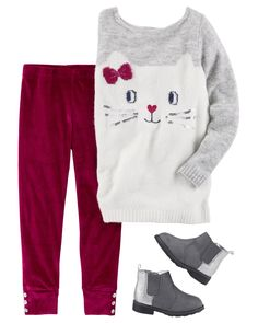 This kitty sweater sits purr-fectly over velvet leggings. Pair with glitter ankle boots to complete this sweet and stylish look. - July 06 2019 at Baby Outfits, Outfits Niños, Little Girl Outfits, Toddler Outfits, Kids Outfits, Toddler Sweater, Baby Girl Sweaters, Toddler Pants, Toddler Girl