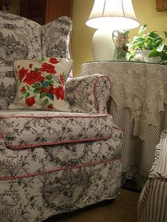 love the toile on the chair
