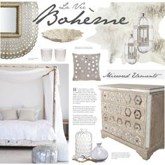 Boho Chic Bedroom by bellamarie on Polyvore featuring interior, interiors, interior design, home, home decor, interior decorating, DwellStudio, Zara Home, Pottery Barn and John Robshaw