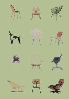 Charles and Ray Eames Chair Styles. Second row: right - Dining Chair Metal (DCM)