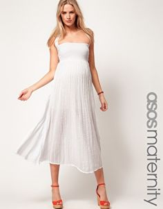 Enlarge ASOS Maternity Cheesecloth Midi Dress With Halter Neck
