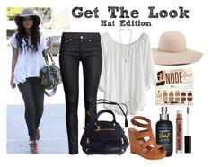 """Get The Look: Hat Edition, Vanessa Hudgens"" by bri-grim ❤ liked on Polyvore featuring Hinge, Chicwish, Bumble and bumble, H&M, Linea Pelle, Lucky Brand and MANIAMANIA"