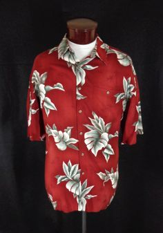 3a0883f7 Vintage Campia Moda Red & Gray 100% Rayon Palm Leaf Print Hawaiian Shirt -  XL
