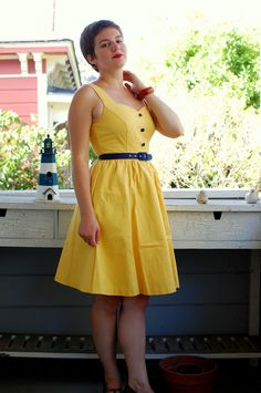 Keeping a casual pace, you breeze through the city center atop your bike in this adorable A-line. Part of our ModCloth namesake label, this butter yellow and navy frock features pockets and a sleek belt, so while you revel in the architecture all around you, the locals indulge in the sight of your style!
