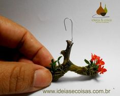 mini orchid Sophronitis coccinea - handmade in clay cold porcelain