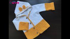 Tığ İşi Kolay Kapşonlu Bebek Hırkası Yapımı Detaylı Anlatımlı Baby Cardigan, Crochet Videos, Easy Crochet, Free Pattern, Fashion, Tejidos, Children, Moda, La Mode