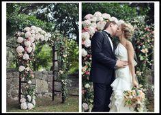 Hydrangeas - Wedding Arbors, Arches, Altars and More! Wedding Arbors, Garden Wedding, Wedding Ceremony, Gold Wedding, Hydrangea Flower, Hydrangeas, Seasonal Flowers, Rose Petals, White Roses