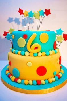 birthday cake stars and dots
