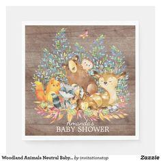 Woodland Animals Neutral Baby Shower Paper Napkins Woodland Animal Nursery, Woodland Theme, Woodland Baby, Woodland Animals, Baby Shower Chalkboard, Baby Shower Napkins, Gender Neutral Baby Shower, Paper Napkins, Moose