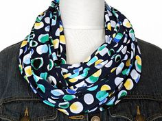 Navy Blue Infinity Scarf Circles Geometric by ModaBellaScarves