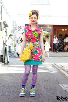 Present - Present - Here's someone who we see around Harajuku often. Christina is a longtime member of the Harajuku Fashion Walk crew as well as being a student at Bunka (Tokyo's most prestigious fashion college). Here, she's wearing a colorful outfit w/ items from Party Baby, Village Vanguard & Kinji. Check all of the pics > http://tokyofashion.com/colorful-harajuku-street-style-w-party-baby-village-vanguard-kinji/ (Tokyo Fashion. 2012)