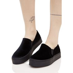 Black Velvet Slip On Sneakers ($30) ❤ liked on Polyvore featuring shoes, sneakers, platform shoes, slip-on sneakers, platform slip on shoes, velvet sneakers and black velvet shoes