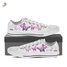 74590da426c Butterfly - Womens Low Top Canvas Sneakers White Womens Low Top White -  Butterfly   US8