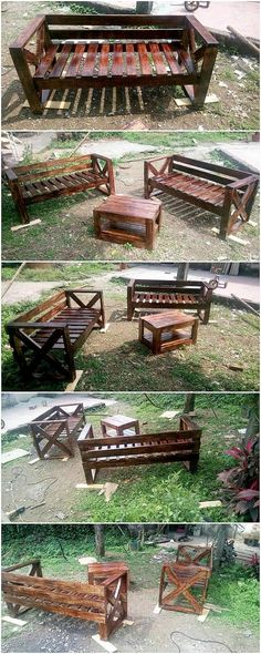 This is although quite an innovative and much a different creation of the wood pallet introduced into this image. What do you think, this creation is all about? Well, somehow this creation is showing out the service of outdoor garden furniture as being used enclosed with the benches plus the table and chair. What do you think?