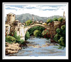 mostar köprüsü gobleni, mostar goblen şeması