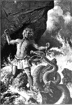 Beginn des Weltunterganges - Ernst Hermann Walther. Loki breaks free from his fetters at the beginning of Ragnarök and faces the snake that has tormented him.