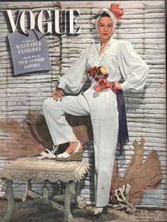 Vogue May 1 1941 40s magazine cover model color photo print ad white jumpsuit wedge shoes  espadrilles