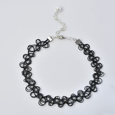 final look of the black stretchy tattoo choker necklace