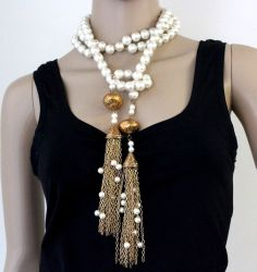VTG Couture Glass Pearl Ornate Gold Plated Chain Link Sautoir Tassel Necklace