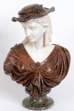 Busto do sec.19th em mármore, 61cm de altura, 58,600 EGP / 21,665 REAIS / 6,960 EUROS / 8,200 USD https://www.facebook.com/SoulCariocaAntiques