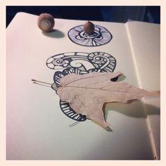 Caterpillar leaf sketch in moleskine. #moleskine #art #fern #sketchbook