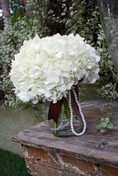 table reception centerpieces (Anna- I thought the pearls would be pretty with your hydrangea idea)