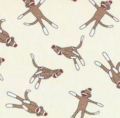 Sock Monkey fabric - thefabricstore.etsy.com