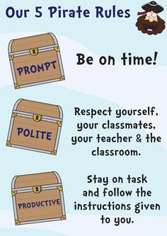 Our 5 Pirate rules: Prompt, Polite, Productive, Prepared and Patient.