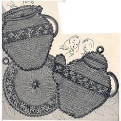 Crochet Cookie Holder Teapot Saucer Potholders Patterns