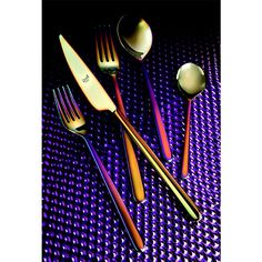 This glamorous cutlery set is characterized by waves of iridescent colour running through each piece that changes according to the light, making each piece truly unique.The rainbow finish is achieved by heating the titanium-coated stainless steel pieces in a vacuum chamber at very high temperatures. This causes the metal molecules to alter, leaving behind this special finish. This revolutionary process is completely envinromental-friendly, signature of Italian tableware brand Mepra.Finalist…